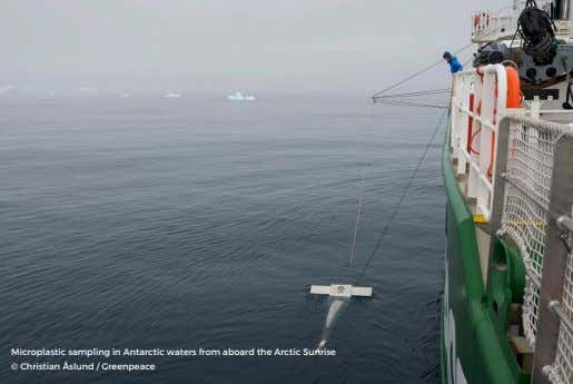 Microplastic sampling in Antarctic waters from aboard the Arctic Sunrise © Christian Åslund / Greenpeace