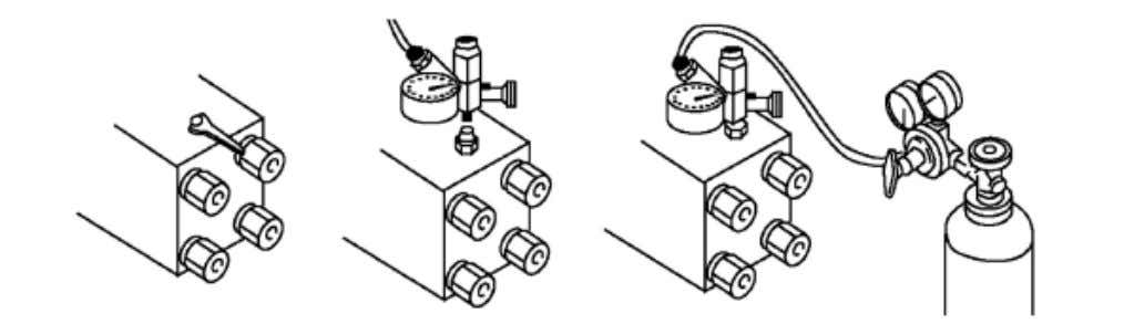 ! Charging of N2gas into back head (1) Remove gas valve plug (2) Insert 3-way valve