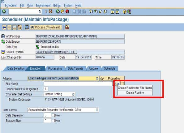 In the extraction tab, click on icon 'Create Routine'. SAP COMMUNITY NETWORK SDN - sdn.sap.com |