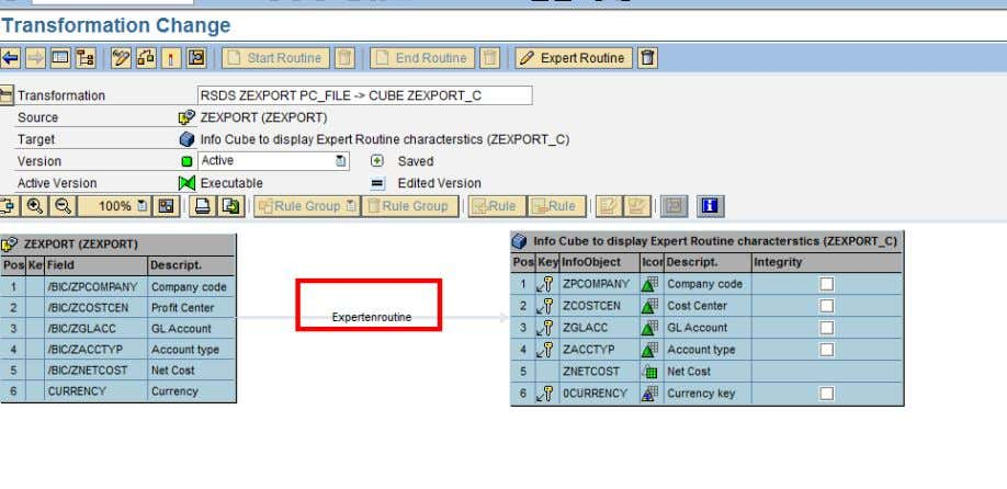 Usage of ABAP in BI Save and activate the routine. There will be a line connecting