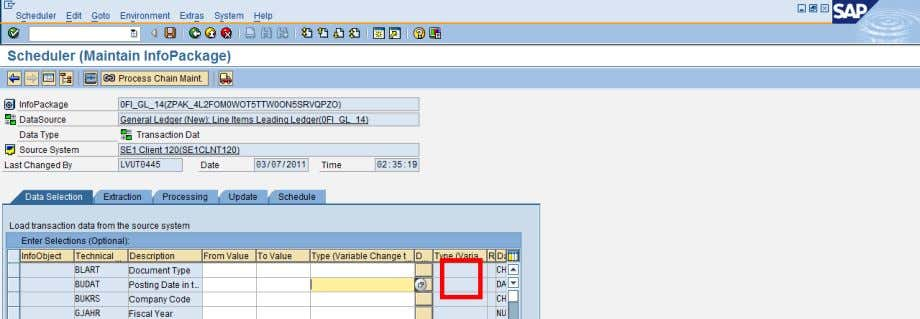 of the InfoPackage, select the Type as 'ABAP Routine'. There will be an automatic pop up
