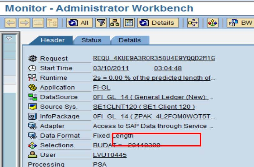 So we can see that the date displayed here is 09/03/2011. Selections using a variable (variable