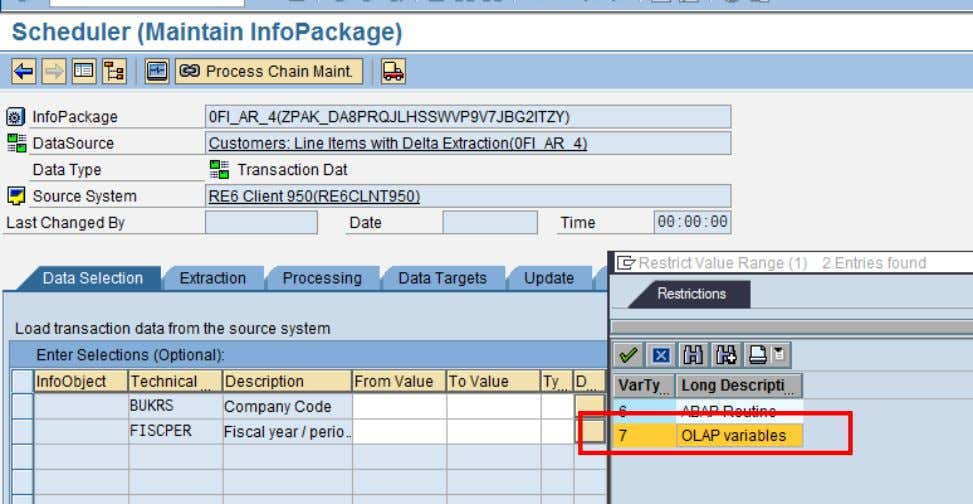 Usage of ABAP in BI A Pop up appears where we can select the name of