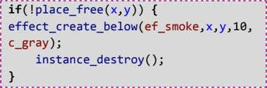if(!place_free(x,y)) { effect_create_below(ef_smoke,x,y,10, c_gray); instance_destroy(); }