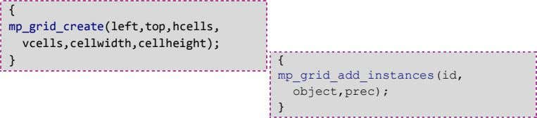 { mp_grid_create(left,top,hcells, vcells,cellwidth,cellheight); } { mp_grid_add_instances(id, object,prec); }