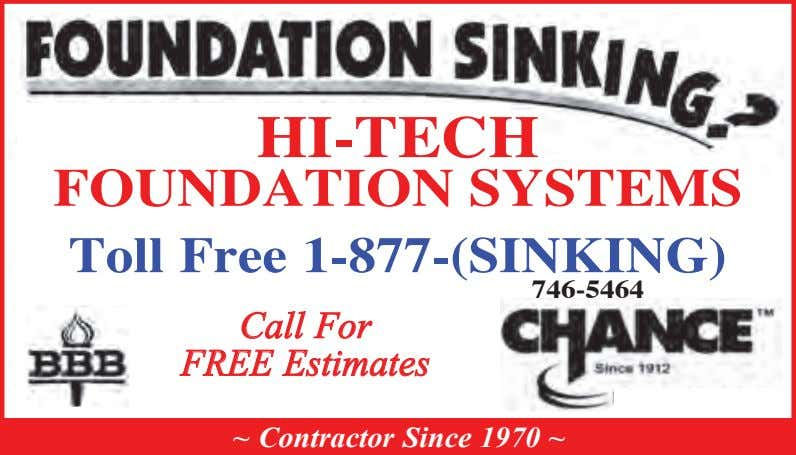 HI-TECH FOUNDATION SYSTEMS Toll Free 1-877-(SINKING) 746-5464 Call For FREE Estimates ~ Contractor Since 1970
