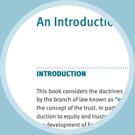 An Introduction to INTRODUCTION This book considers the doctrines an by the branch of law