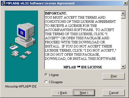 "select the option ""I Agree"" and click on NEXT. Software License Agreement window The following window"