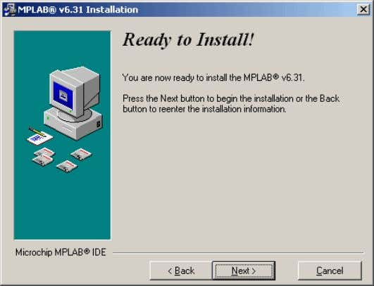 on NEXT to start copying the necessary files to your PC. Screen prior to installation Installation