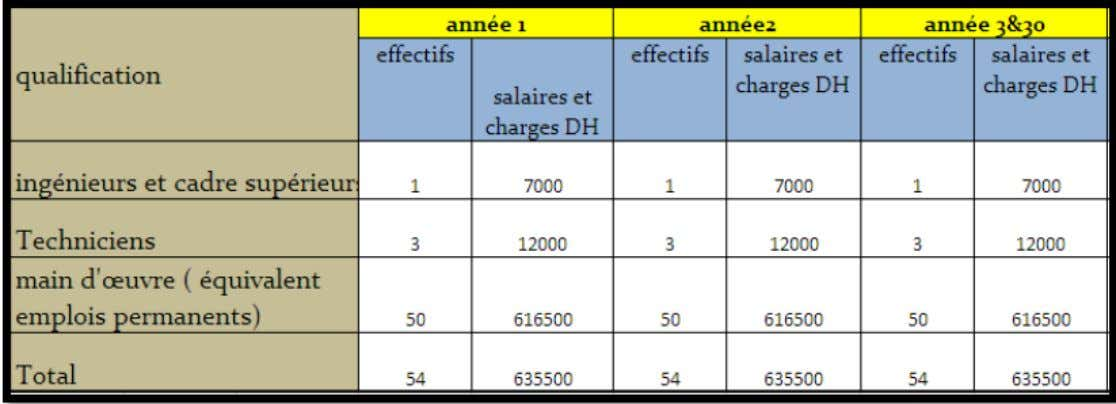 TABLEAU 2 : Ressources humaines : effectifs et charges