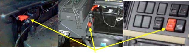 Batteries Before start the vehicle = reconnect the batteries Verify that ignition and main switches are