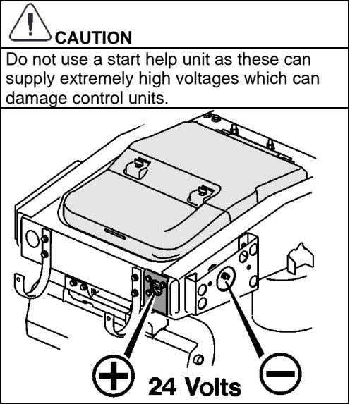 CAUTION Do not use a start help unit as these can supply extremely high voltages