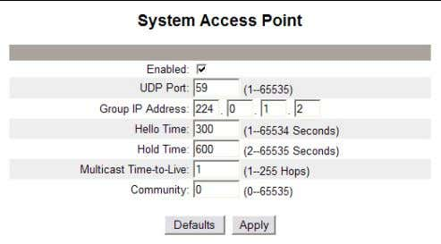 0 to 65535 Default: 0 Figure 17: System Access Point 22 © 2007-2012 Schneider Electric. All