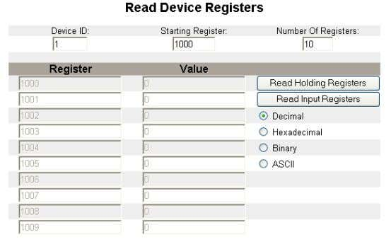 is displayed. Decimal Figure 19: Read Device Registers Page 26 © 2007-2012 Schneider Electric. All Rights