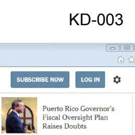 KD-003 St * LOGIN Ct SUBSCRIBE NOW Puerto Rico Governor's Fiscal Oversight Plan Raises Doubts