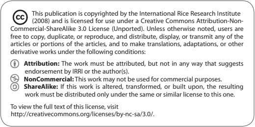 This publication is copyrighted by the International Rice Research Institute (2008) and is licensed for