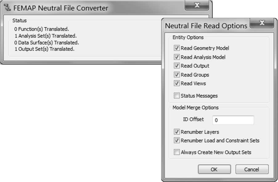 the options for conver ting from the older model file. A Femap Neutral File ( .NEU