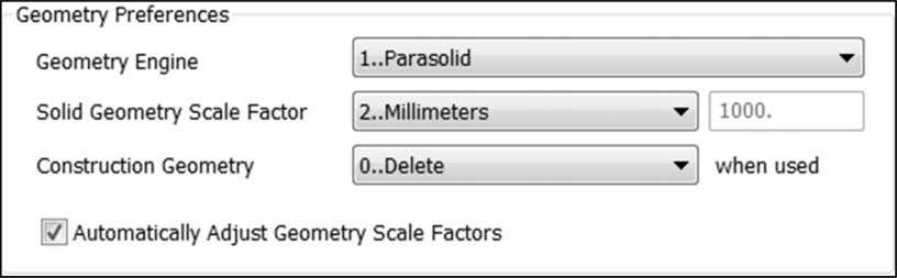 of the Parasolid modeling limits ( +/-500 x 500 x 500). Note: If you import geometry