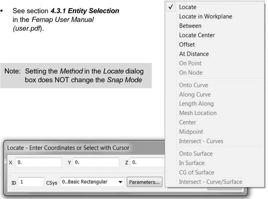 • See section 4.3.1 Entity Selection in the Femap User Manual (user.pdf). Note: Setting the