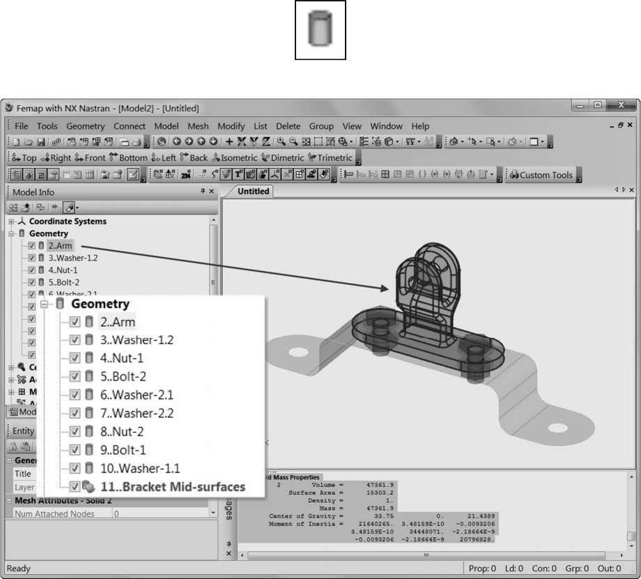 in the Model Info pane's Geometry tree with this icon: Note: Running the Tools, Mass Properties,