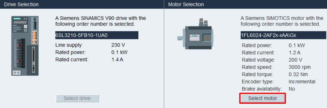 selection window. Select the motor based on the part number. Figure 4 - Select Motor Once,