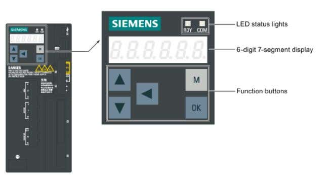 Panel (BOP) located on the front of the servo drive: Figure 45 - SINAMICS V90 Integrated