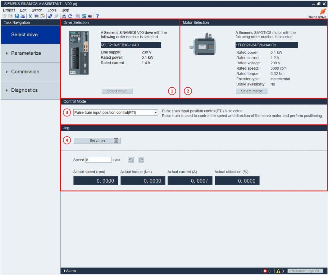 ' Select Drive' Tab A2.2 Overview of V-ASSISTANT 1. Drive Selection 2. Motor Selection 3. Control