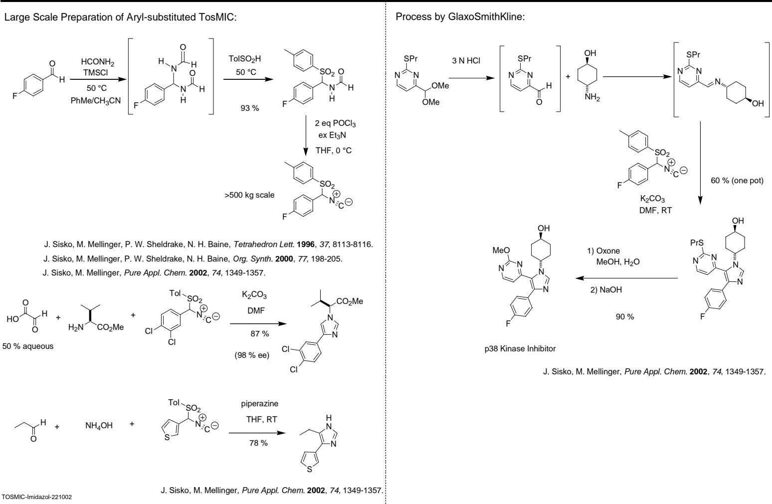 Large Scale Preparation of Aryl-substituted TosMIC: Process by GlaxoSmithKline: O OH SPr TolSO 2 H