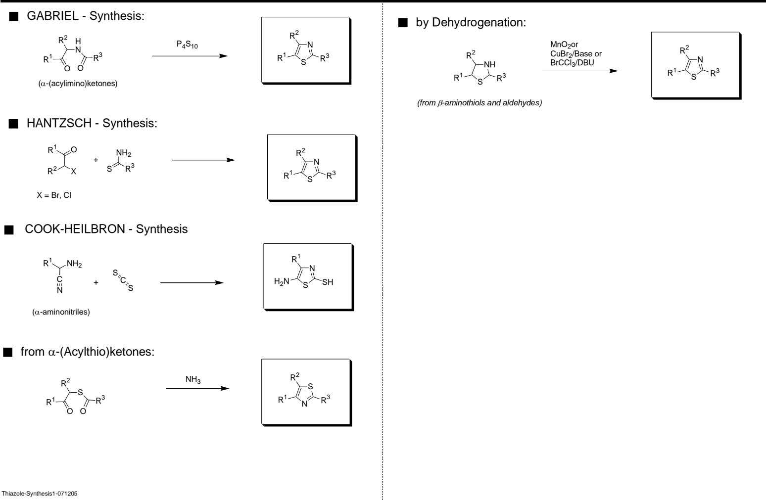 GABRIEL - Synthesis: by Dehydrogenation: 2 R 2 R H P N MnO 2 or