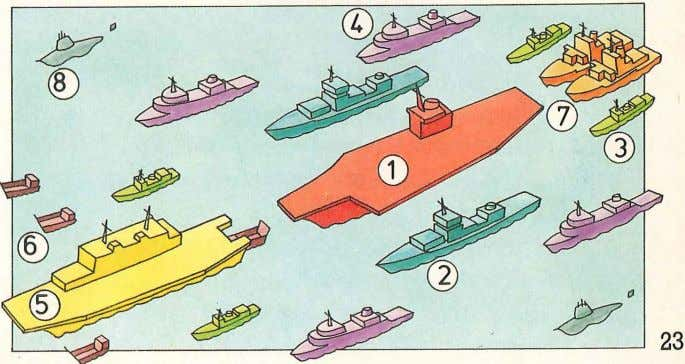 and its landing craft (6). Support ships keep the warships refueled (7), while submarines (8) patrol