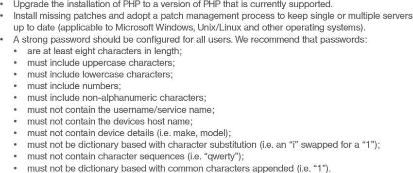 • Upgrade the installation of PHP to a version of PHP that is currently supported� •