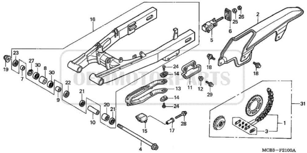 Parts for Honda XL650V Transalp (2001) SWINGARM/CHAIN CASE           Price Price Nr.