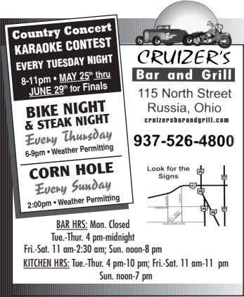 Country Concert KARAOKE CONTEST EVERY TUESDAY NIGHT 8-11pm • MAY 25 th thru JUNE 29