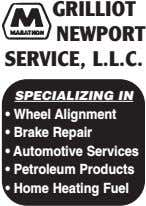 GRILLIOT NEWPORT SERVICE, L.L.C. SPECIALIZING IN • Wheel Alignment • Brake Repair • Automotive Services