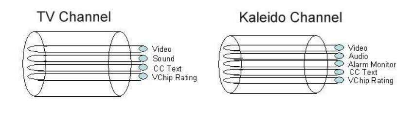 information, etc) captured by the TV set. Assigning a channel to a Kaleido monitor is equivalent