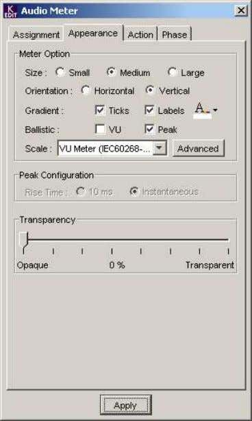 Appearance Tab Meter Option: ∑ Size: Select Small, Medium or Large to set the displayed meter