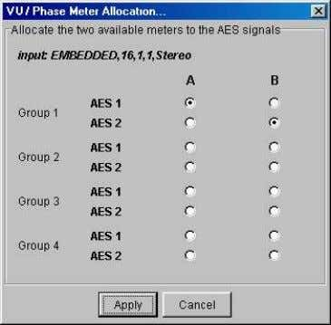 Allocate VU/Phase Meters: Clicking the Allocate button opens a window where the inputs to the VU