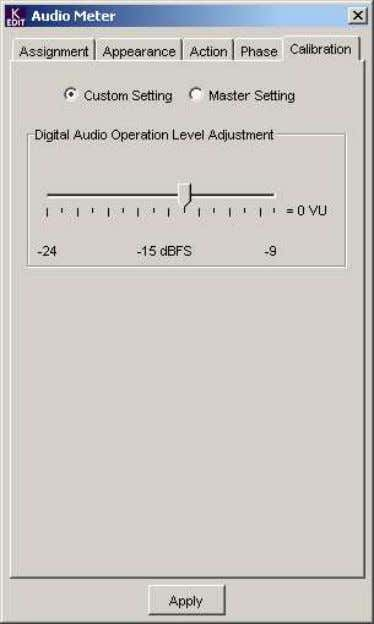 Calibration Tab This tab provides access to audio level calibration for the Kaleido's audio inputs. ∑