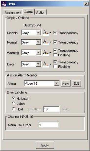 Alarm Tab Display Options: For each of the four possible Alarm states, select the color of
