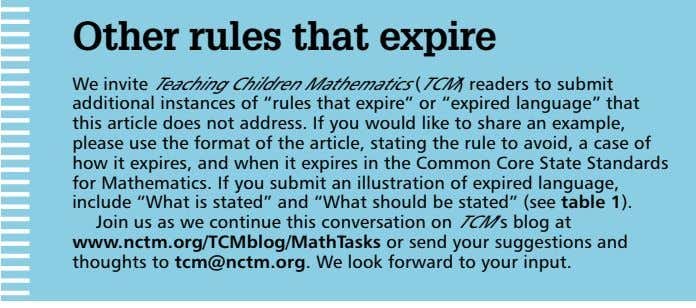 Other rules that expire We invite Teaching Children Mathematics (TCM) readers to submit additional instances