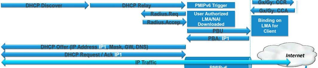 Gx/Gy: CCR DHCP Discover DHCP Relay PMIPv6 Trigger Gx/Gy: CCA Radius.Req Radius.Accep User Authorized LMA/NAI