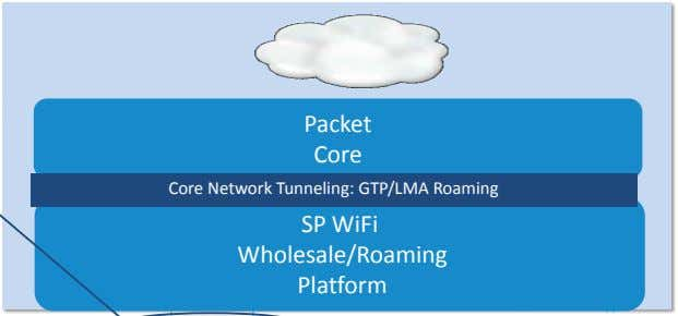 Packet Core Core Network Tunneling: GTP/LMA Roaming SP WiFi Wholesale/Roaming Platform
