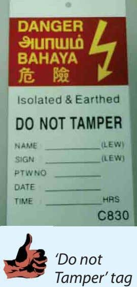 'Do not Tamper' tag