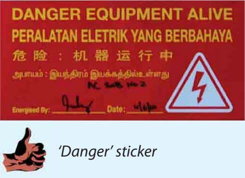 'Danger' sticker