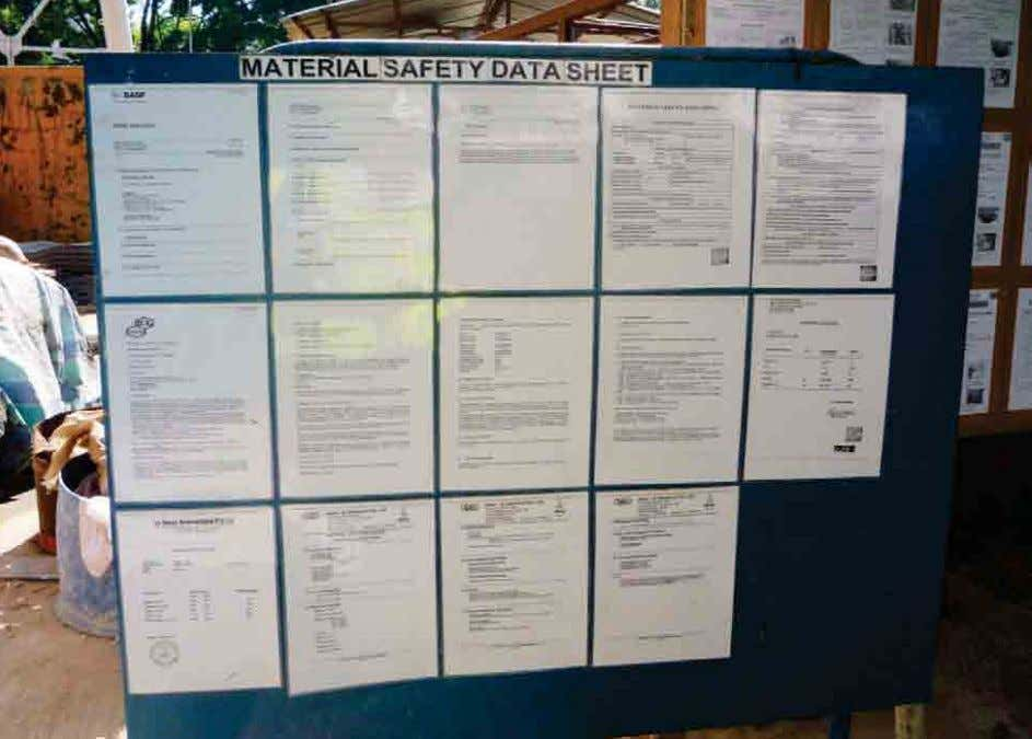 and consider safer alternatives prior to its entry to site. Safety Data Sheet displayed on notice