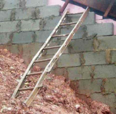 proper landing platform, ladder not secured Secured ladders Crooked and unsecured ladder should be removed from
