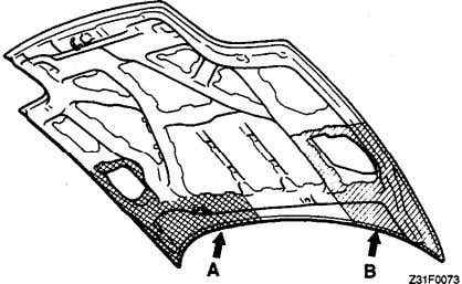 the inner side of the part shown in the illustration. Hood Q u a r t