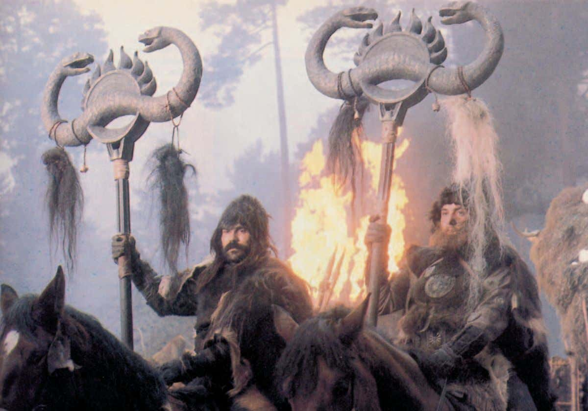 The warriors of Conan's archenemy Thulsa Doom brandish the emblem for the snake-worshipping Cult of