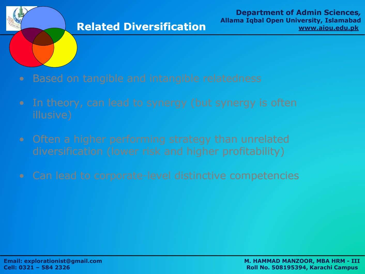 Department of Admin Sciences, RelatedRelated DiversificationDiversification Allama Iqbal Open University, Islamabad