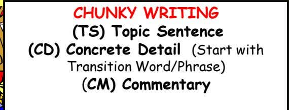 CHUNKY WRITING (TS) Topic Sentence (CD) Concrete Detail (Start with Transition Word/Phrase) (CM) Commentary
